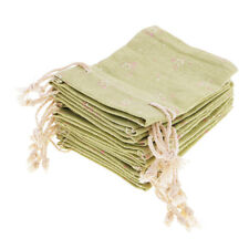 10 Pieces Grass Green Linen Drawstring Sack Bag Jewelry Wedding Candy Gift Bags