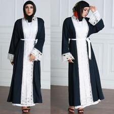 Dubia Style Muslim Kaftan Abaya Jilbab Islamic Women Long Sleeve Maxi Dress S9S2