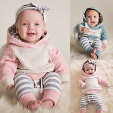 Newborn Toddler Baby Boy Girl Hooded Sweater Tops+Pants Outfits Set Tracksuit