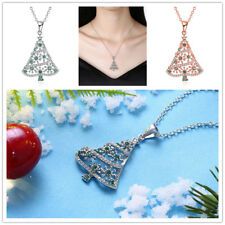 Fashion Christmas Tree Necklace Rose Gold Silver Plated Jewelry Holiday Gift