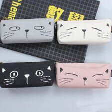Cute Cat Pocket School Cosmetic Make Up Pencil Pen Organizer Bag Case Pouch