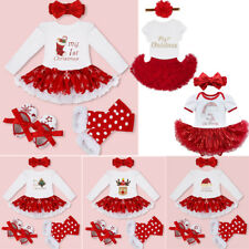 Baby My First Christmas Santa Deer Outfit Toddler Girl Xmas Party Dress Clothes