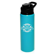 25oz Aluminum Sports Water Bottle Travel Softball Vintage