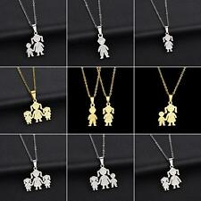 Unique Stainless Steel Single Mother Kids Pendant Chain Necklace Jewelry Sturdy