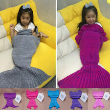 New Soft Hand Crocheted Mermaid Tail Blanket Sofa Blanket Kids Sleeping Bags