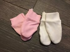 tiny small baby babies cotton prem PREMATURE SCRATCH MITTS mittens WHITE PINK