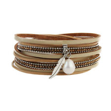 Fashion Women Multilayer Wrap PU Leather Faux Pearl Drop Vintage Bracelet Bangle