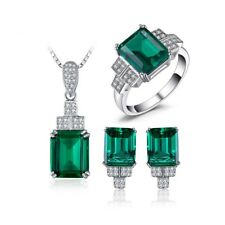 925 Sterling Silver Regal 11.8Ct Emerald Necklace Earrings Ring Set