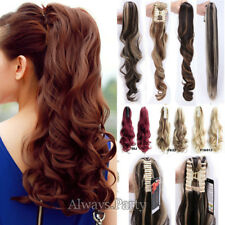 Lady Clip In Ponytail Hair Extension Jaw/Claw On Hair Piece curly wavy Long AP