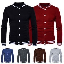 New Men's Stylish Slim Fit Solid Baseball Hoodie Casual Button Jacket Coat