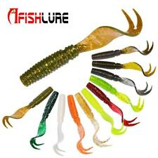 8pcs Curly Tail Soft Lure 75mm 3.3g Forked Tail fishing bait grubs Maggot lure J