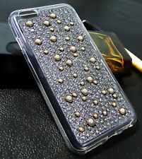 Finished Bling Diamond Crystal Pearl Silicone Gel TPU Case Cover For iPhone