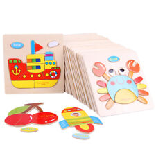 Wooden 3D Puzzles Jigsaw Toys For Children Cartoon Animal Puzzles Intelligence