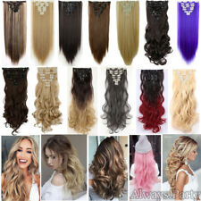 Real Thick Clip In Hair Extensions Long Straigt Curly As Human Clearance Sale KS