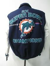 Miami Dolphins Mens S M 2 Time Super Bowl Champions Wool Leather Jacket DOL 32