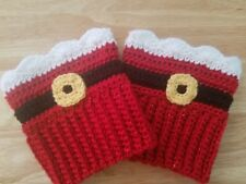 Santa Claus Boot Cuffs, Christmas Crochet Boot Toppers, Holiday Boot Toppers