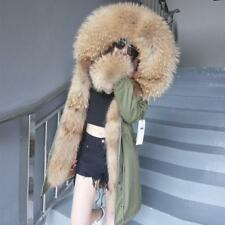 2017 Women 100%Real Raccoon Fur Collar Hooded Parka Fur Lined jacket coat Winter