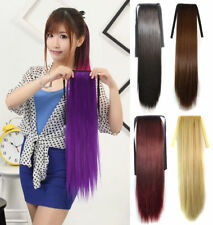 Long Straight Ponytail Clip-in Wrap On Hair Extensions Hairpiece Woman C1