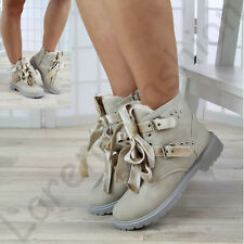 New Womens Winter Ankle Boots Faux Fur Lined Zip Grip Sole Warm Lace Up Shoes
