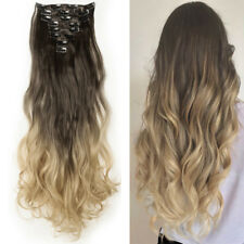 """US SALE Full Head Lace Clip In Hair Extensions Synthetic Long 24/26"""" 18 Clips on"""