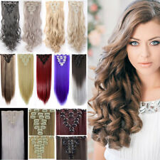 Real Natural Full Head Clip In Hair Extensions Straight 18 Clips As Human Hair