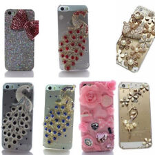 3D Bling Rhinestone Diamond Peacock and Flower Lace Case Cover For iPhone 5