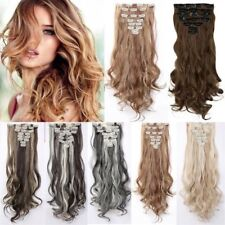 UK Real Long 100% Natural Extensions Clip in HAIR EXTENTIONS Full Head Human AE6