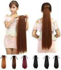 Long Straight Fluffy Yaki Ponytail Wrap On Clip-in Hair Extensions Woman C22
