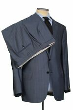 """BRIONI """"COLOSSEO"""" Handmade Blue Striped Wool Silk Suit NEW"""