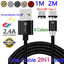 1-2M 3in1 Type C/Micro USB Cable Round Magnetic Charger for Samsung Galaxy S7 S8
