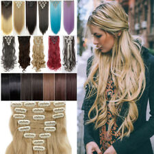US Real Hair Extensions Full Head 8 Pcs 18 Clips On Straight Curly Clip In PR6
