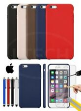 Apple iPhone 6 Plus - Leather Hard Back Case Cover, Stylus Pen & GLASS Protector