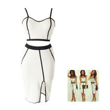 5X(SR Womens Bodycon Bandage Two Piece Crop Top and Skirt Dress Set-S