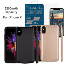 Apple iPhone X External Backup Battery Case 5200mAh Charger Stand+Tempered Glass
