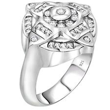 Men Sterling Silver .925 Designer Ring Featuring 42 Round and Baguette CZ Stones