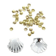 5X(SR 50pcs Mini Alloy Shell Beads for Nail Art Decoration Craft Golden 3mm
