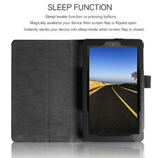 Leather Screen Protector Stand Case Cover For Amazon Kindle Fire 7 2017 BLACK