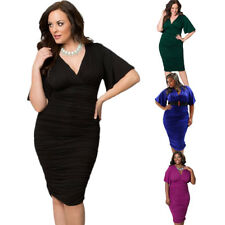 Women Plus Size Dress V-neck Ruched Stretch Bodycon Party Evening Midi Dresses