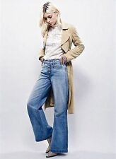 Free People Avendale wide leg flare high rise button fly jeans NWOT 27