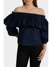 NEW Piper Off Shoulder Top with Full Sleeve Navy
