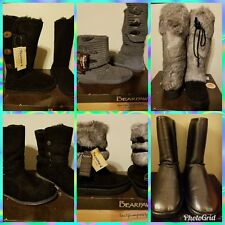 NIB BEARPAW BOOTS RABBIT  FUR AND/ OR SUEDE BLACK PEWTER GRAY SZ 6, 7, 9
