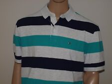 Tommy Hilfiger Authentic Classic Fit Striped Polo Shirt Gray NWT