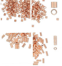 100 Highly Polished Copper Seamless Crimp Tube Beads Or  Beading Spacer Tubes