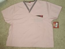 Scrubs Dickies Women Collection Top 12111 Light Pink V Neck Double Pocket NWT 2X