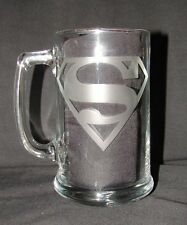 Superman Man of Steel DC Comics Logo Hand Etched on Beer Mug or Pint Glass