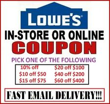 Lowes In-Store / Online Coupon  10 off 50 - 15 off 75 - 20 off 100 - 40 off 200