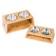 Elevated Dog Cat Feeder Tall Dog Bowl Bamboo Stand Double Stainless Food Bowls