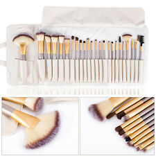 Champagne Professional Cosmetic 12/18/24pcs Makeup Brushes Set with Leather Case