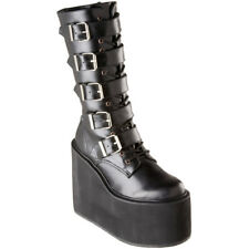 "DEMONIA Women's 5 1/2"" Platform Goth Punk Cyber 5 Buckle Mid Calf Boot SWING-220"