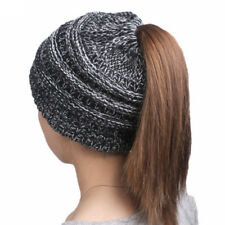 Fashion winter women's knitting wool hat earpiece cap with a ponytail cap hot ~